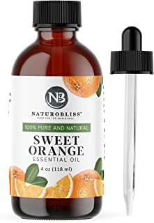 NaturoBliss 100% Pure & Natural Sweet Orange Essential Oil Therapeutic Grade Premium Quality Oil with Glass Dropper - Huge...