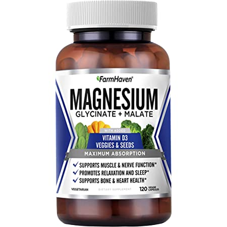 FarmHaven Magnesium Glycinate & Malate Complex w/ Vitamin D3, 100% Chelated for Max Absorption, Vegan - Sleep, Leg Cramps Relief, Anti-Stress, Muscle Cramps, 120 Capsules, 60 Days