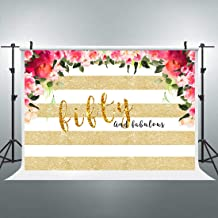 Riyidecor 50th Birthday Fabulous Floral Backdrop Golden Striped Photography Background Woman Fifty Years Old 7x5 Feet Cake Table Banner Birthday Decor Props Party Photo Shoot Vinyl