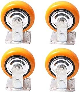 LYQQQQ 4 stks Meubelwielen Zware Polyurethaan Meubelwielen, Flatbed Truck Trolley Industrieel Wiel, Vervang Accessoires Re...