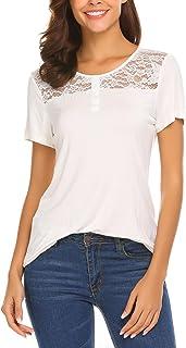 SUNAELIA Women T-Shirts Cotton Tee Basic Short Sleeve Loose Casual Shirt Fitting Tunic Tops