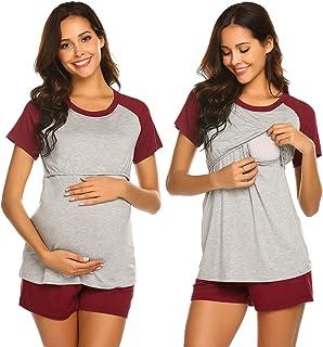 منامات رضاعة للنساء الحوامل من إكوير لمستشفى قصير الأكمام راجلان بيسبول الحمل الرضاعة الطبيعية مجموعة ملابس النوم