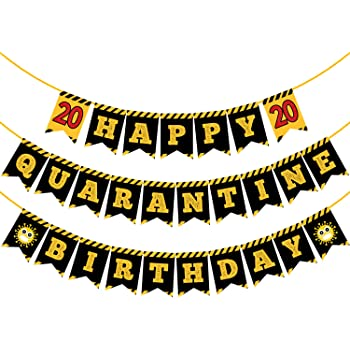 Party Propz Quarantine Happy Birthday Banner Decorations Items For Girls Boys Kids Husband Adults Mother Father Party Supplies Unique Celebration Material Item 1st 2nd 10th 13th 16th 18th 19th Ideas Amazon In Toys Games
