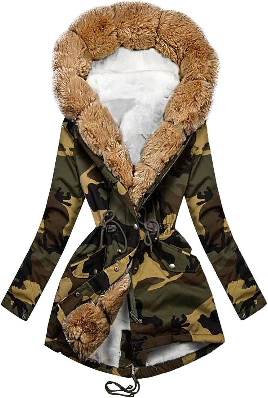 Womens Winter Jackets Coat Outwear Plush Camouflage trust Fleece Oakland Mall Colla