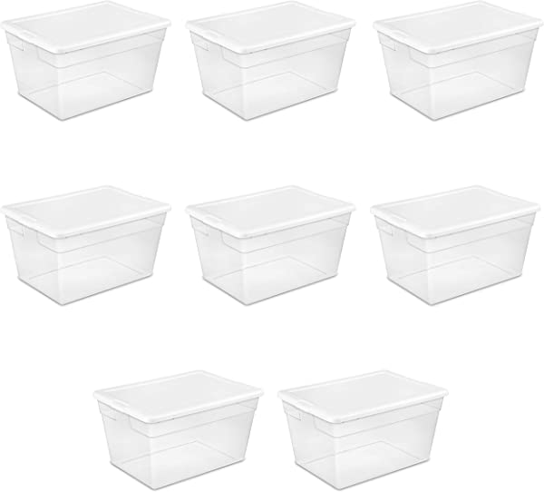 Sterilite 16598008 56 Quart 53 Liter Storage Box White Lid W Clear Base 8 Pack
