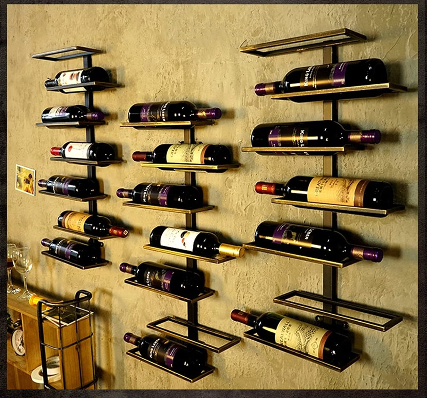 YYHSND Wine Rack Wall Hanging Home Wall Decoration Rack Bar Wall Hanging Wine Bottle Rack Storage Rack red Wine Rack (Size   E)