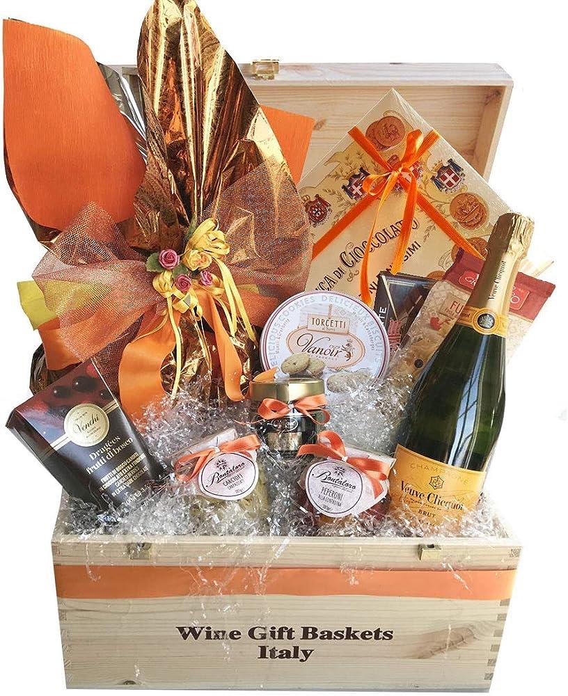Wine gift baskets,cesto pasquale, dolce e salato,con cassetta in legno