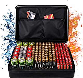 Fireproof Battery Organizer Storage Box, Fireproof Waterproof Explosionproof Safe Carrying Case Bag Hard Holder, Holds 182 Batteries AA AAA C D 9V, with Battery Tester BT-168 (Not Includes Batteries)