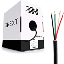 Next 16/4 Speaker Wire - 16 AWG/Gauge 4 Conductor - UL Listed in Wall (CL2/CL3) and Outdoor/In Ground (Direct Burial) Rated - Oxygen-Free Copper (OFC) - 500 Foot Bulk Cable Pull Box - Black