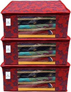 KUBER INDUSTRIES Metalic Flower 3 Piece Non Woven Clothes Organizer Set, Large, Red, 43x35x17.5 cm