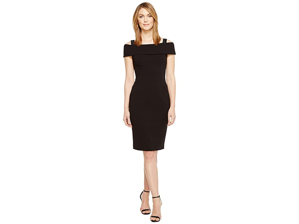 Adrianna Papell Crepe Off the Shoulder Cocktail Dress (Black) Women's Dress