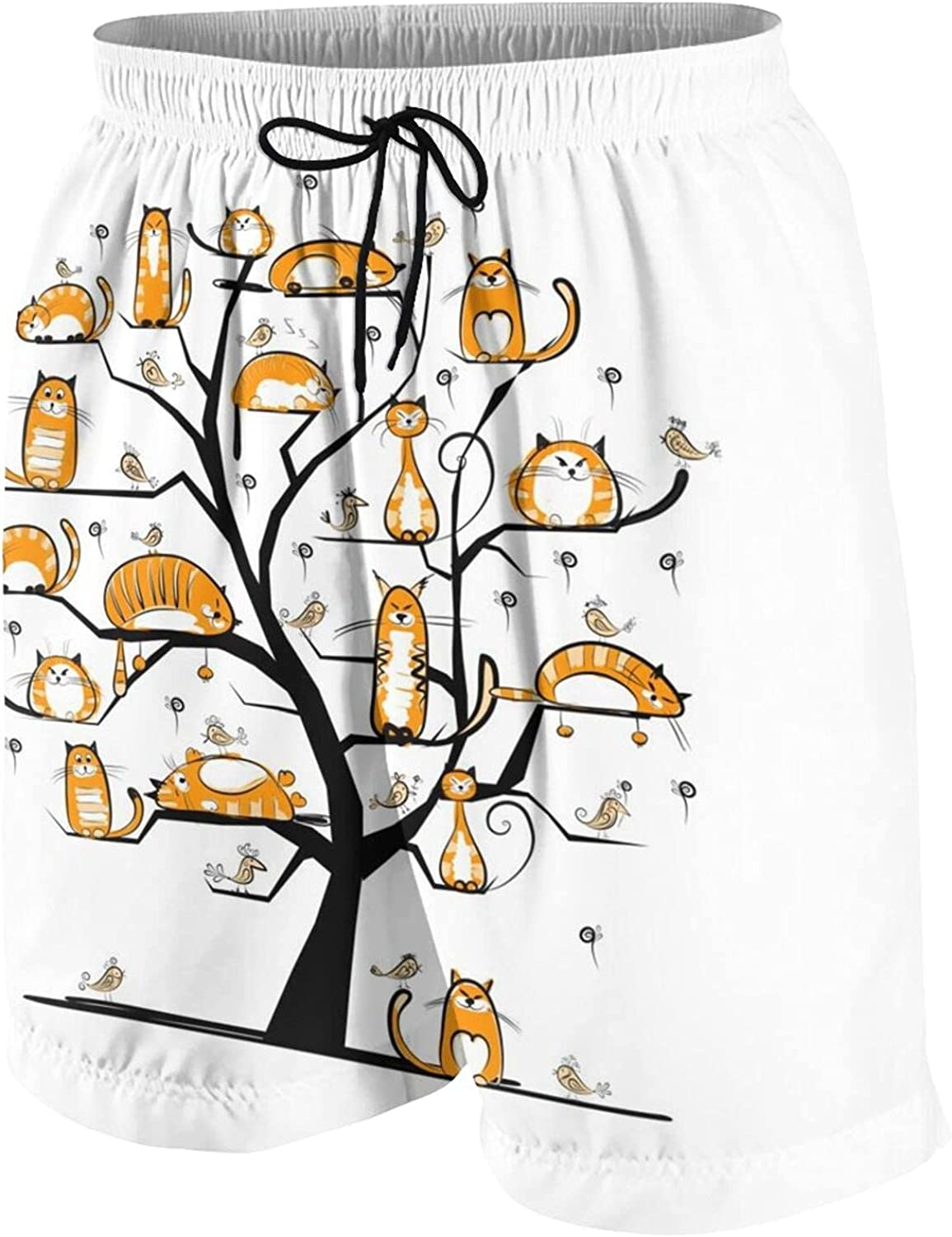 Cat Family Tree for Your Design Kids Beach Shorts Youth Boys Board Shorts Trunk Swim Swimming Pants for 7-20 Years White