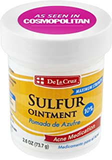 De La Cruz 10% Sulfur Ointment Acne Treatment - Medication to Clear Cystic Acne Pimples and Blackheads on Face and Body - ...