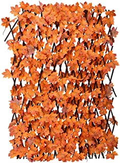 YATAI Bamboo Wooden Fence with Artificial Plants Orange Maple Leaves Expandable Wicker for Home Garden Decoration (6)