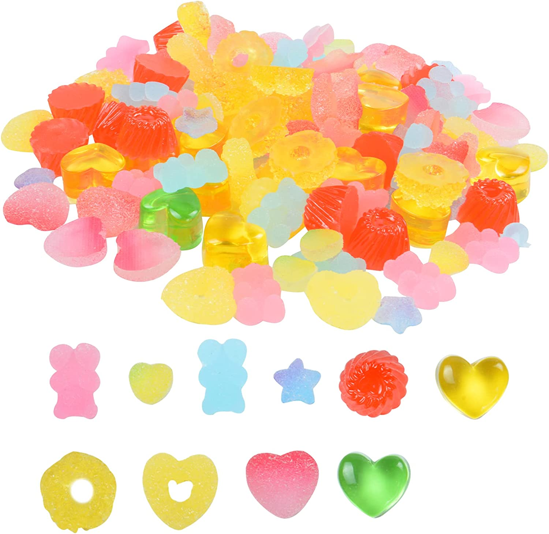 110 PCS New popularity Jelly Candy Resin Slime Kawaii trust Charms Flatback Na