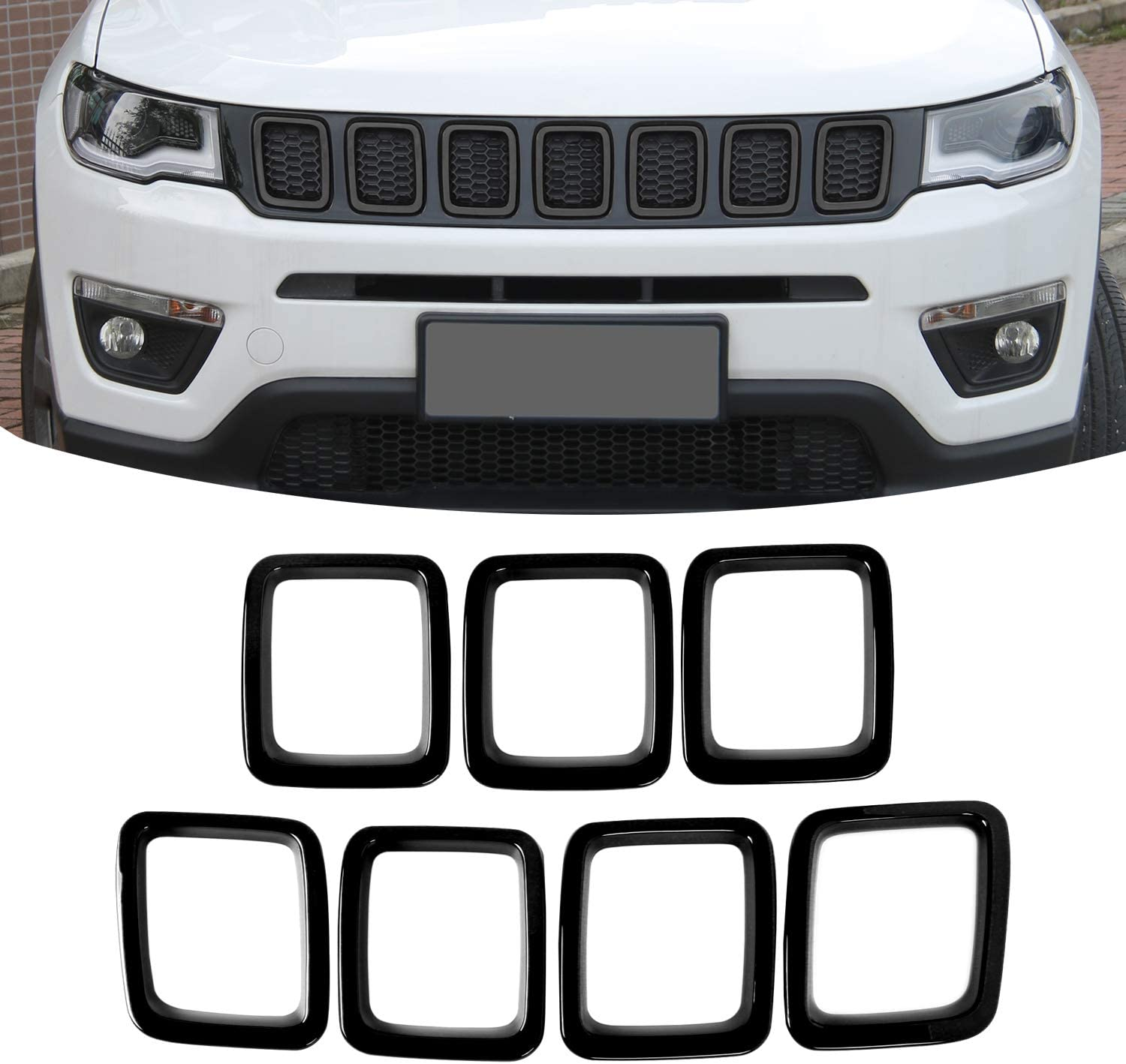 JeCar Grille Inserts Sacramento Mall ABS wholesale Grill Cover for Accessories Je Exterior
