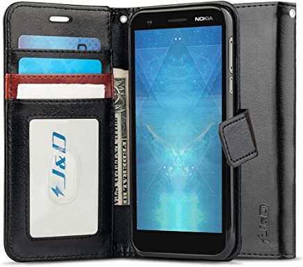 J&D Nokia 3.1 Case, [Wallet Stand] [Slim Fit] Heavy Duty Protective Shock Resistant Flip Cover Wallet Case for Nokia 3.1 - [Not Compatible with Nokia 3] - Black