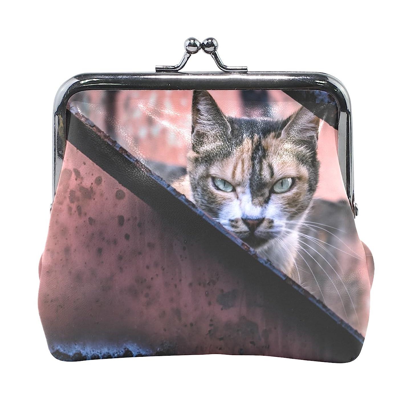 仕えるユダヤ人ではごきげんようAOMOKI 財布 小銭入れ ガマ口 コインケース レザー ねこ キレる 怒る 猫 にゃんこ