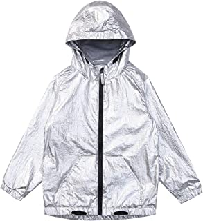 SOLOCOTE Kids Party Jacket Boys/Girls Metallic Shiny Jackets Hooded Lined Zipper Fashion Festival Clothes