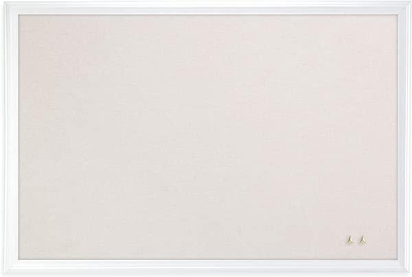 U Brands Cork Linen Bulletin Board 30 X 20 Inches White Wood Frame 2074U00 01