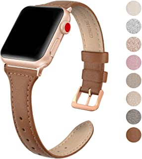 SWEES Leather Band Compatible for Apple Watch iWatch 38mm 40mm, Slim Thin Dressy Elegant Genuine Leather Strap Compatible iWatch Series 5 Series 4 Series 3 Series 2 Series 1 Sport Edition Women, Brown