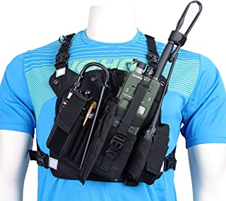 ABBREE Chest Harness Front Pack Pouch Holster Vest Rig for Baofeng UV-5R BF-F8HP UV-82 TYT Ham Two Way Radio (Rescue Essentials) (Reflective Black)