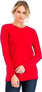 NANAVA Casual Cotton Crew Neck Long Sleeve T-Shirt Top Ruby M