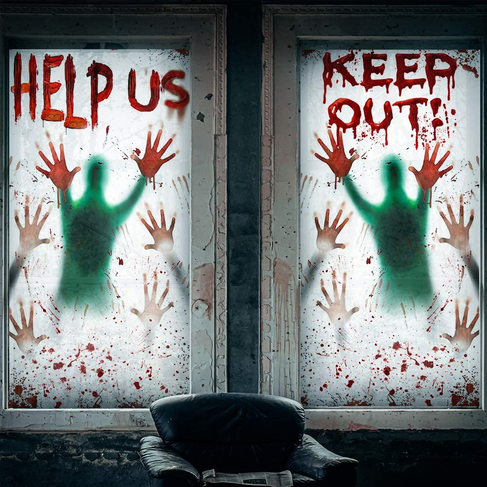 2PCS Max 55% OFF Halloween Window Clings Giant fo Bloody Limited Special Price Stickers