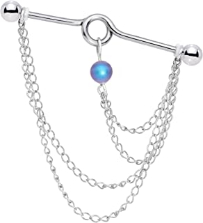 Steel Womens Chain Dangle Project Helix Earring Industrial Barbell Created with Swarovski Crystals 38mm