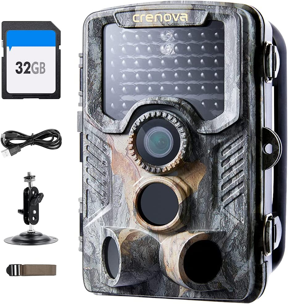 Crenova Trail Camera with 32GB SD IP66 4 years warranty 20MP Waterproo Max 44% OFF 1080P Card