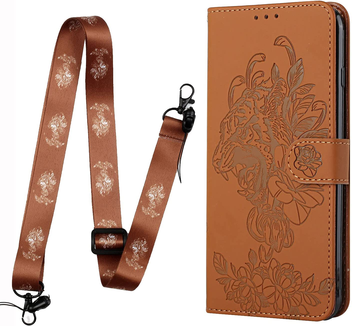 Crossbody Phone Case for Samsung Galaxy S20 Ultra, 2 in 1 Tiger Embossed Shockproof Slim PU Leather Wallet Phone Cover TPU Bumper Flip Protective Neck Strap Case with Lanyard, Brown