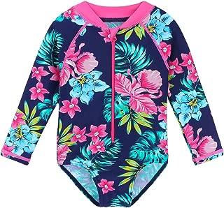HUAANIUE Baby/Toddler Girl Swimsuit Rashguard Swimwear Long Sleeve One-Piece