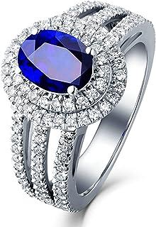Daesar Anello Fidanzamento Oro Bianco 18K 1.11ct Zaffiro Blu A 4 Artigli con Diamante Ovale Anello Oro Donna Matrimonio