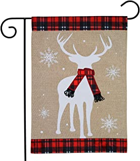 "Briarwood Lane Winter Deer Burlap Garden Flag Plaid Scarf 12.5"" x 18"""
