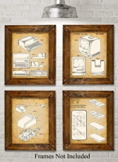 Original Steve Jobs Computer Patent Art Prints - Set of Four Photos (8x10) Unframed - Makes a Great Gift Under $20 for Computer Geeks/Gurus and Tech Support