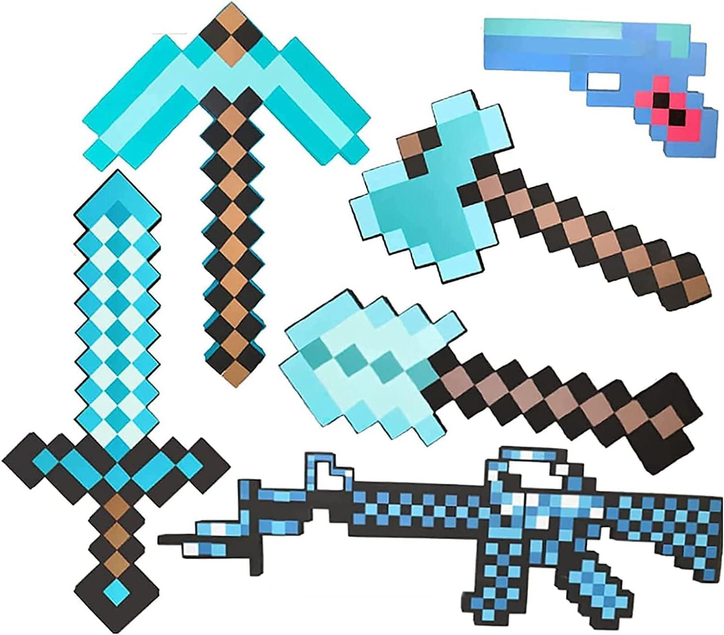 Shhjjyp Espada De Espuma para Niños Escudo Espada De Diamante Pico Pixel Axe Pala De Píxeles Subfusil Ametrallador Pistola De Píxeles Espada De Simulación Juguetes para Niños 8 Combinaciones,A