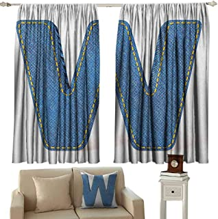 GUUVOR Letter W 99% Blackout Curtains Symmetrical Latin Letter Capital W with Blue Jean Pattern Typography Design Print for Bedroom Kindergarten Living Room W42 x L36 Inch Blue Yellow