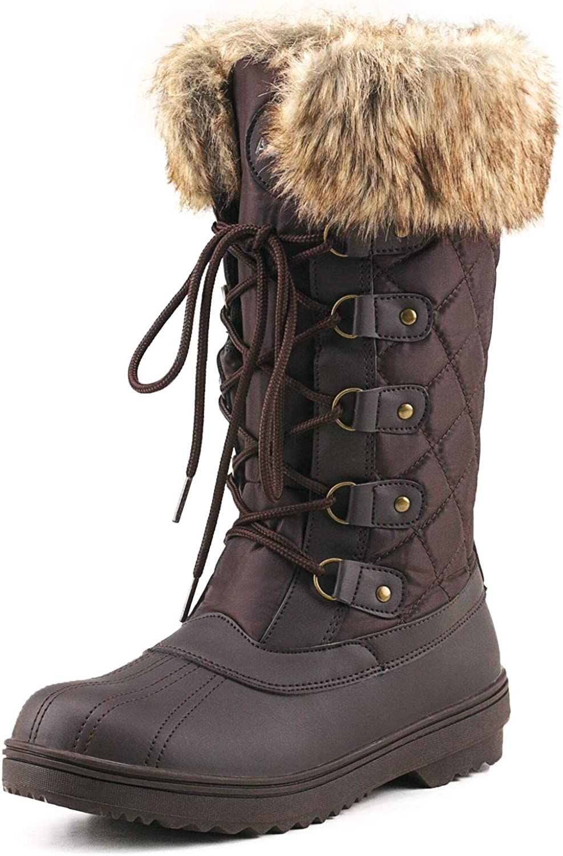 Shenda Women's Mid-Calf Nylon Fabric Snow Boots E7630
