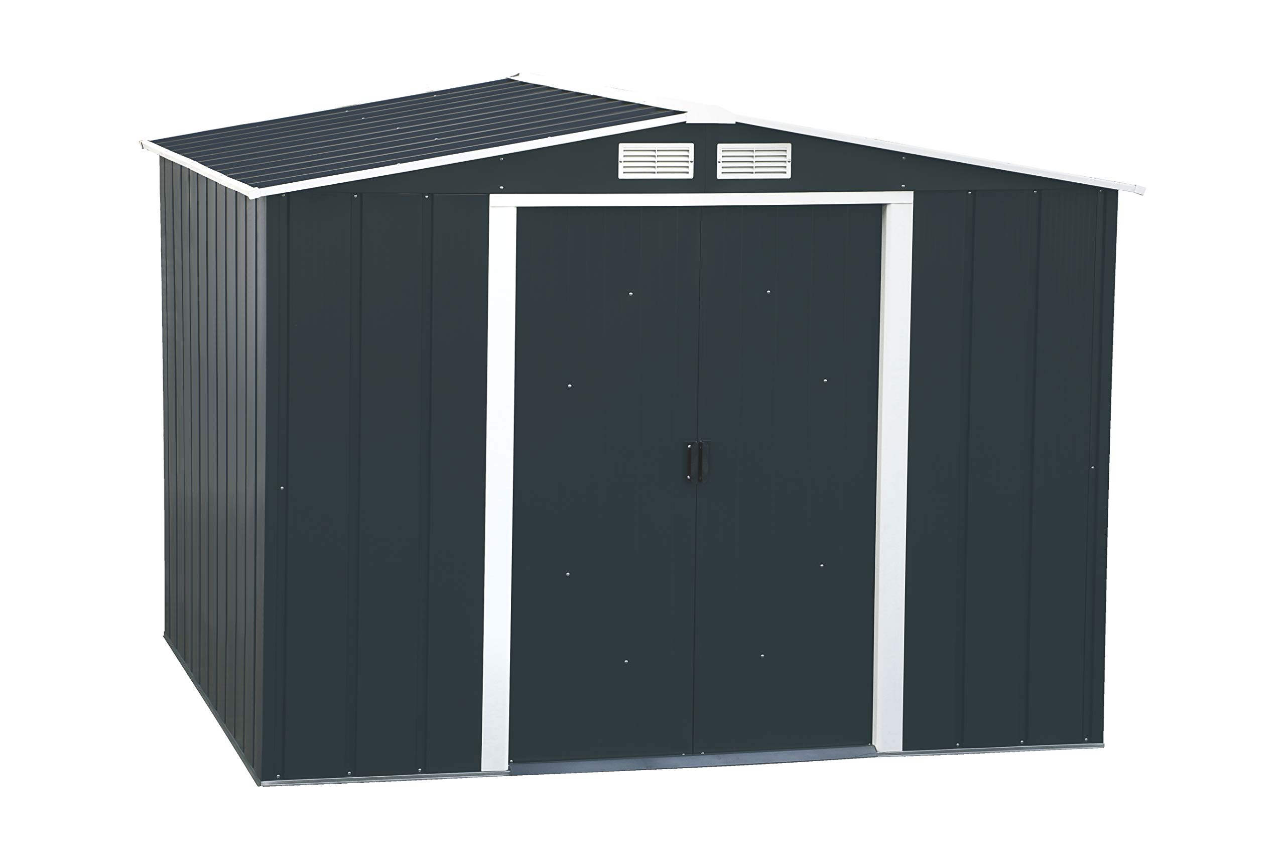 Duramax Eco 8 X 8 Hot Dipped Galvanized Metal Garden Shed Anthracite With Off White Trimmings 15 Years Warranty Amazon Co Uk Garden Outdoors