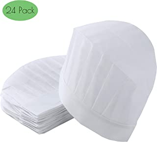 24 Pcs White Disposable Chef Hats Tall Non-Woven Kitchen Cooking Paper Chef Cap Set for Adults and Kids Party Supplies High