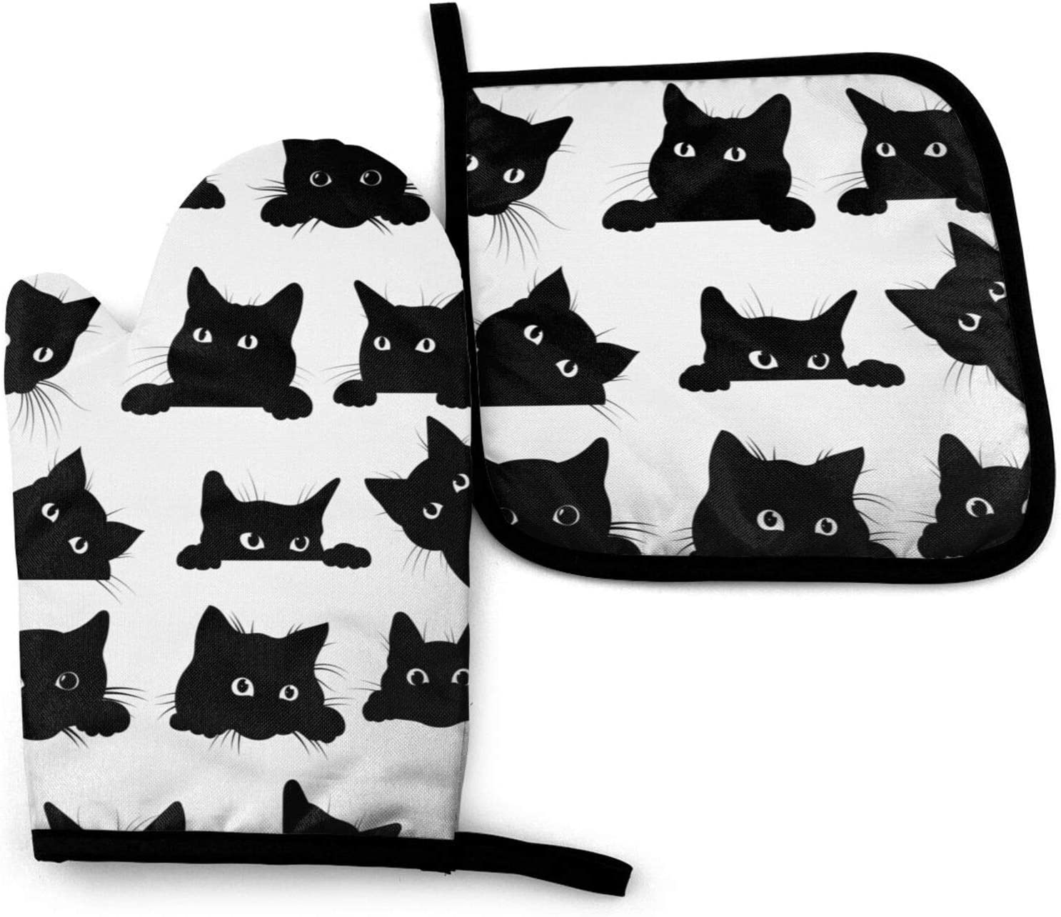 Black Cats Kitchen Oven Mitts and Pot Holders Sets of 2,Resistant Hot Pads ,Flexible Cooking Oven Gloves for Microwave BBQ Cooking Baking Grilling