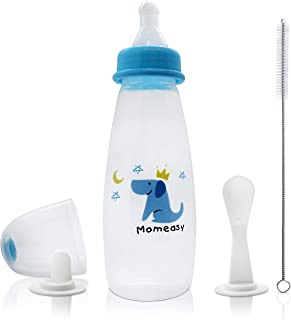 3 in 1 Baby 240 ML Feeding Bottle with Two Types of Feeding Spoon, Nipple and Brush - BPA Free Multi Function Food Dispens...