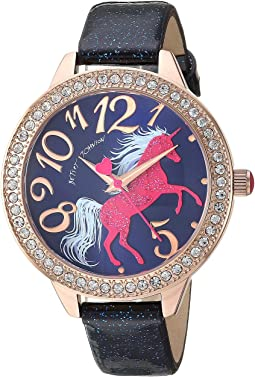 Unicorn Motif Dial & Glitter Strap Watch