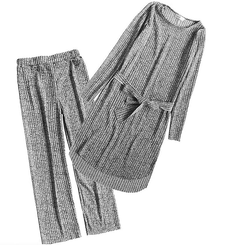 コーナーゲスト火傷女性エレガントな2ピースセットブラウストップとワイドレッグパンツ衣装ジャンプスーツ Black US XX-Small