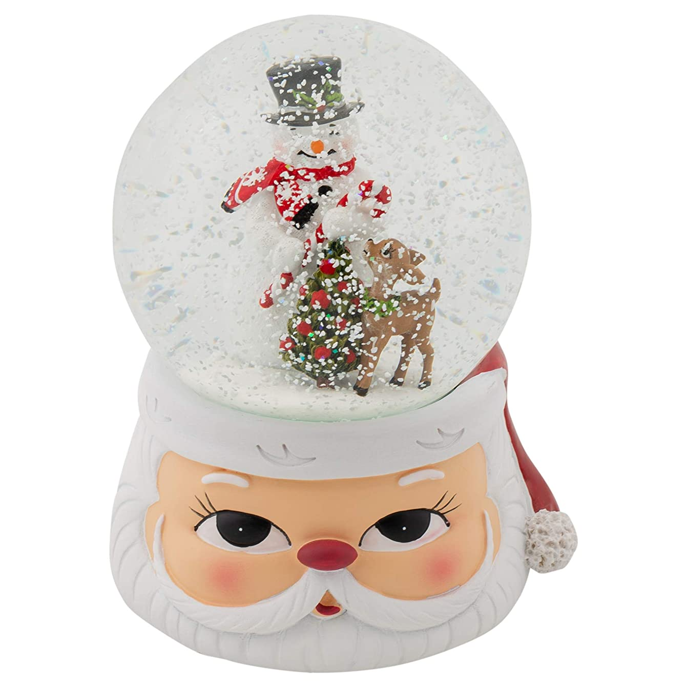 Snowman and Reindeer 6 Inch Glitter Globe Playing The Tune We Wish You A Merry