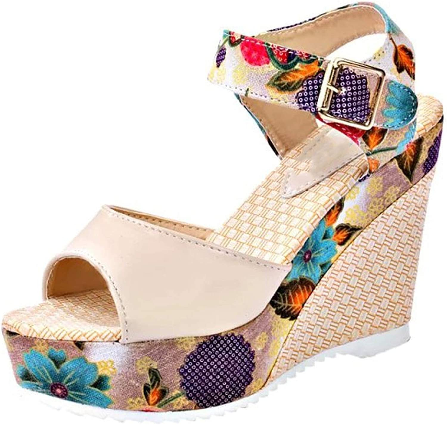 High Heels Sandals Buckle Strap shoes women National Style Slope Sandals