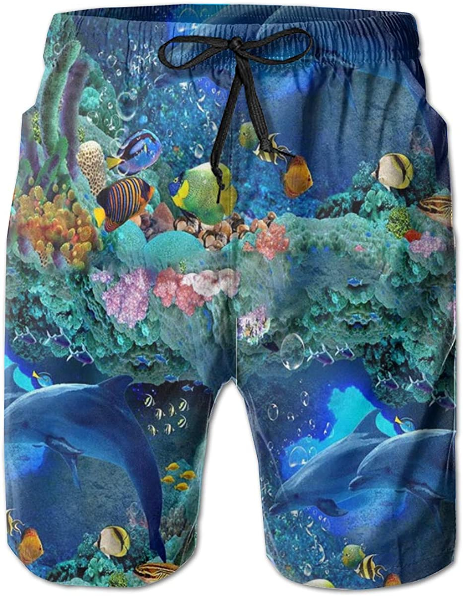 Coral Reefs and 25% OFF Selling Schools of Fish Quick-Dry Beach Men's Sur Summer