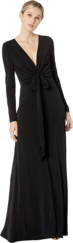 Long Sleeve Ruched V-Neck Gown
