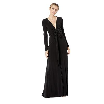 Calvin Klein Long Sleeve Ruched V-Neck Gown (Black) Women