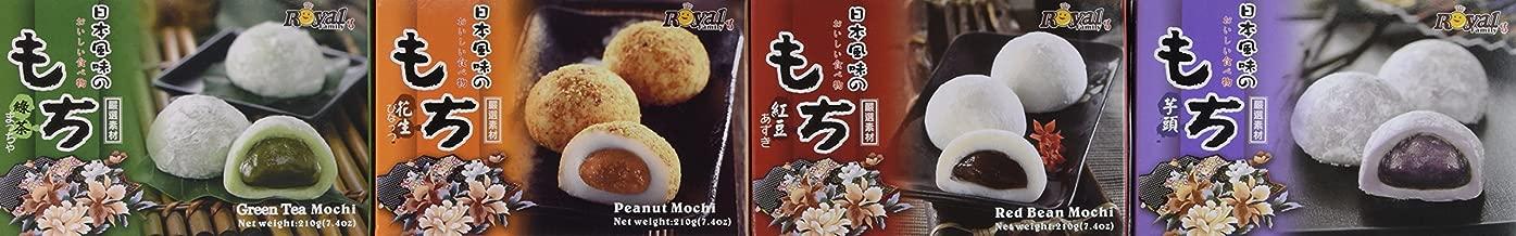 Royal Family Japanese Mochi Variety Pack Including Red Bean, Taro, Green Tea and Peanut, 29.6 oz